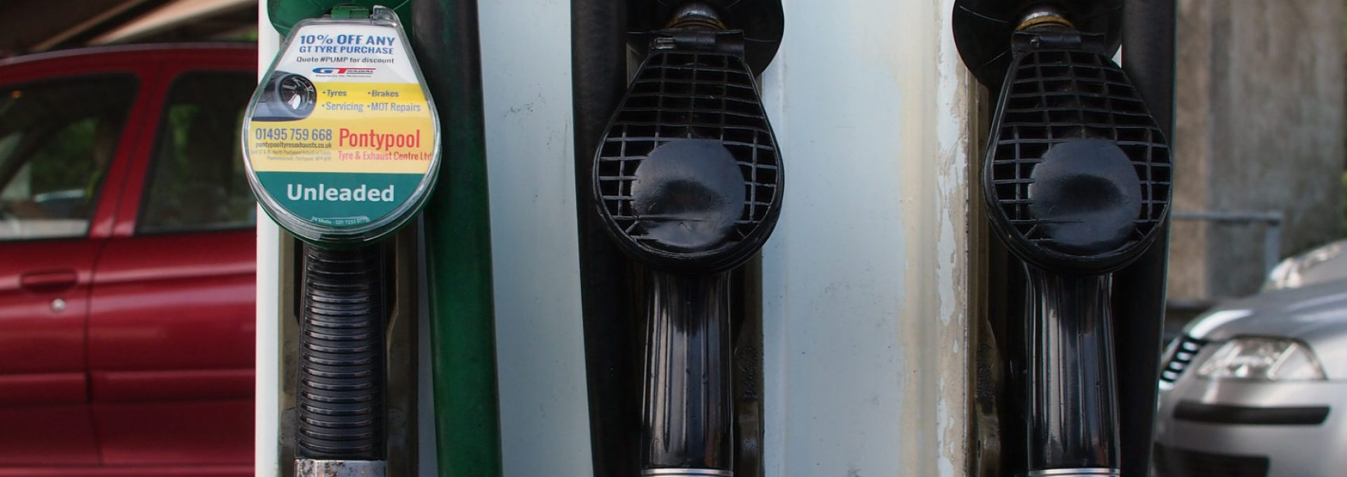 Petrol and diesel pumps at a filling station (fuel)